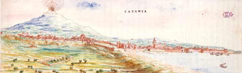 La costa di Catania in una tavola di Tiburzio Spannocchi.